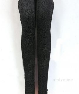 Womens Sexy Stretch Leggings Floral Pleuche Hollow Pantynose Slim Tights Pants