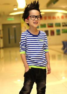 Boys Kids Baby Toddler Clothes New Striped Casual Pocket Tops Shirts Size 2 7Y