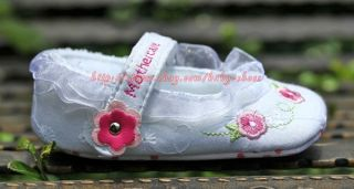 Baby Girl White Lace Trim Mary Jane Floral Embroidered Shoes Newborn to 12 Mons