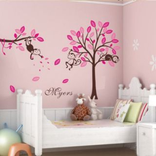 Snooze Monkey Large Tree Wall Stickers Vinyl Art Decor Decals Home Kids Nursery