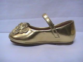 Girls Gold Ballet Flats w Lil Flowers TG Toddler Sz 6