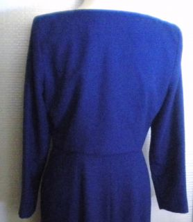 Liz Claiborne 2 Piece Lined Royal Blue Evening Gown Dress Jacket Sz Petite 12