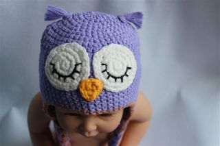 Cute Handmade Baby Child Cute Owls Knit Hat Cap Photograph Newborn to 3 Year New