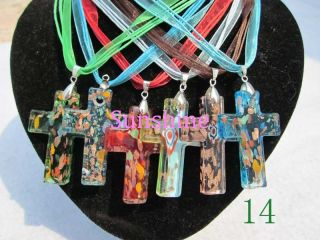 Lot 6pcs Murano Lampwork Glass Cross Pendant Necklace