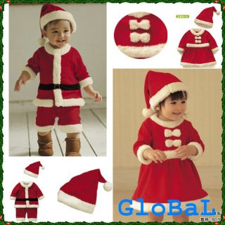 Baby Boy Girl Christmas Xmas Santa Claus Costume Dress Romper Outfit Set 6 24M