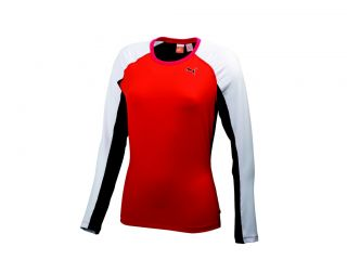 New Women's Puma Dry Cell LS Novelty Top Fiery Red Shirt Small MSRP $64 99 Z