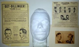 Gangster John Dillinger Collection Death Mask Wanted Posters Mug Shot