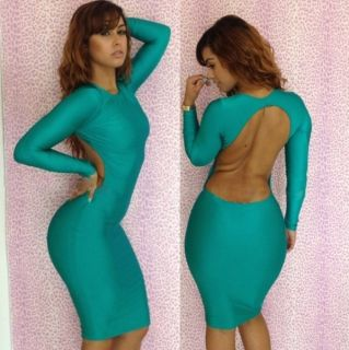 Womens Sexy Clubwear Outfit Crewneck Long Sleeve Hollow Bandage Dress S225WD