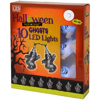 10 White LED Battery Spooky Ghost Shaped Halloween Lights Decorations New