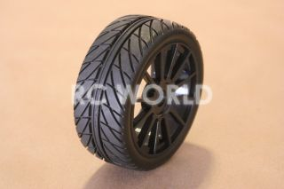 RC 1 8 Car Buggy Truck Tires Wheels Rims Package Street Tread Black