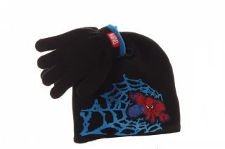 Marvel Boys Black Blue Web Red Spiderman Warm Winter Hat Cap Gloves One Size New