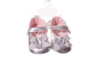 Baby Infant Girls Silver Ballet Flats Dress Shoes Velcro Mary Janes 2 6 9 MO New