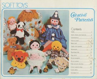 1970s Soft Rag Doll Toy Doll Plush Stuffed Animal Sewing Pattern 11 Projects