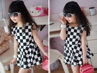 Lovely Kids Toddlers Girls Party Beautiful Dress White Black Plaid Patte Age 2 7