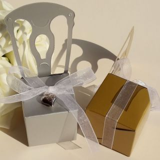 100x Wedding Party Baby Shower Favor Gold Silver Chair Ribbon Bell Candy Boxes