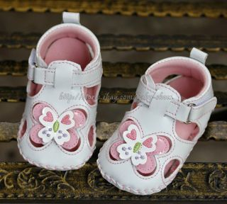 Baby Infant Girl White Butterfly Sandals Dress Crib Shoes Size 6 9 9 12 Months