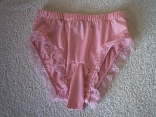 Men's Sissy Baby Pink Silky Stretch Sleeved Panties Cute Frilly Knickers S