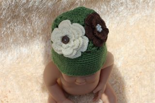 Cute Handmade Cotton Baby Child Girl Reindeer Flower Knit Hat Newborn Photo Prop