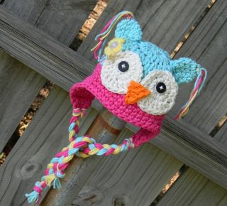 New Cute Owl Baby Child Girl Boy Knit Hat Cap Photograph Sky Blue Pink 9M 2Year