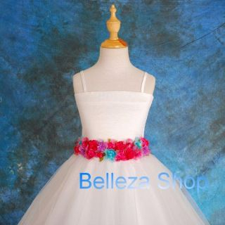 White Wedding Flower Girl Pageant Party Formal Occasion Dress Sz 3T 4T FG062 HP