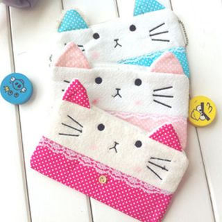 Lovely Cute Soft Plush Cat Pencil Pen Case Cosmetic Makeup Bag Pouch New