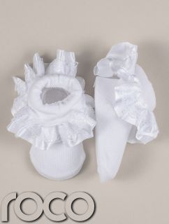 Baby Girls White Frilly Lace Christening Baptism Infant Toddlers Soft Socks 0 6M