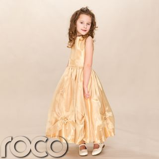 Girls Golden Belle Dress Gold Flower Girl Bridesmaid Wedding Dress 2 10yrs