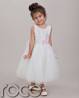Girls Ivory Pink Flower Dress Wedding Prom Party Flower Girl Dress 1 14 Years