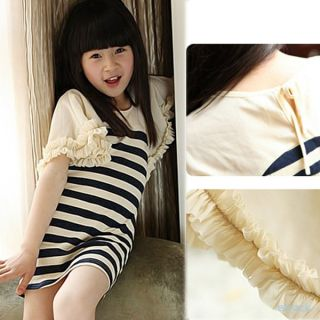 Kids Baby Girls Trumpet Sleeves Ruffled Striped Skirts One Piece Dress 2 7Y