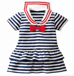 Baby Kids Girl Sailor Marine Style Skirt Dress Blue or Red Stripes Ruffle Bow