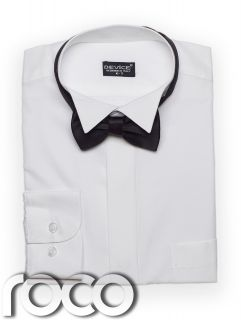 Boys White Wing Collar Suit Shirt Bow Tie Set 2 15yrs