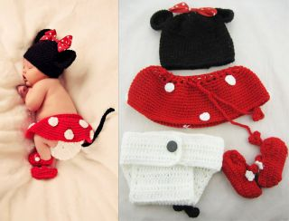 Newborn Baby Girl Boy Crochet Minnie Mouse Outfit Hat Beanie Diaper Cover Set