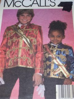 McCall's 9343 Childs Michael Jackson Thriller Jacket Sash Pattern 4 7 UC