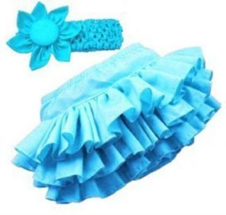 Baby Girl Tutu Pettiskirt Ruffle Bloomers Nappy Cover Headband 4 Colors 0 18M