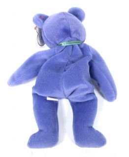 Candy Spelling's Beanie Baby New Face Violet Teddy Bear 1993 1st Gen Tush Tag