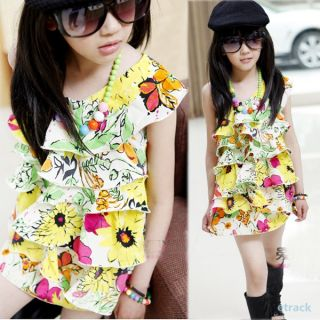 Baby Kids Girls Flowers Pattern Ruffled One Shoulder Skirts One Piece Dress 2 7Y