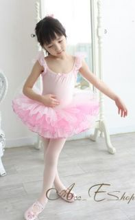 Pink Ballet Dance Leotard Party Fairy Tutu Costume Skirt Outfit Girls Dress 3 7Y