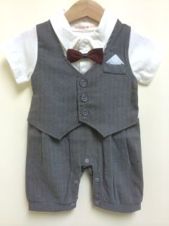 Newborn 24M Baby Toddlers Boy Dress Formal Tuxedo Suit Romper Grey Black New