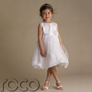 Girls White Petals Dress Wedding Prom Bridesmaid Flower Girl Dresses