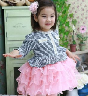 1pc Baby Girls Infant Kid Princess Pageant Striped Dress Skirt Tutu Clothes Pink