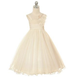 Kids Dream Girls 10 Champagne Double Layer Mesh Flower Girl Dress