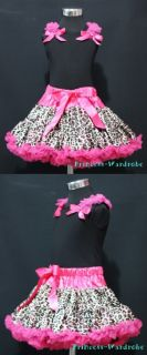 Black Ruffle Top with Hot Pink Leopard Pettiskirt 1 8Y