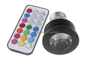 5W E27 Multi Color RGB LED Bulb Lamp Light Black IR Remote Control New