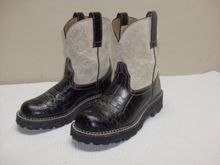 Womens Ariat 14712 Black Gator Print Fat Baby Western Cowgirl Rodeo Boots 7 B