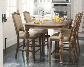 Francois 5pcs Cottage Square Counter Height Dining Room Table Chairs Pub Set