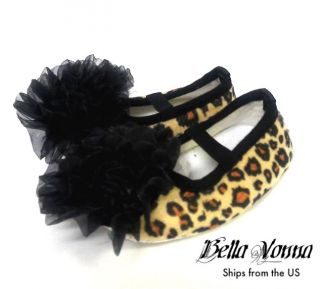 New Animal Print Leopard Soft Crib Shoes Infant Baby Slippers Tan Black s M L XL