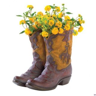 Ceramic Cowboy Boot Planter Western Decor