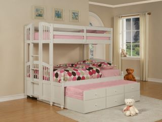 May Kids Teen Wood White Twin Full Bunk Bed with Trundle and 3 Storage Drawers