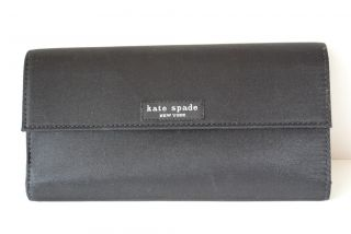 Kate Spade Black Nylon Continental Checkbook Wallet Envelope Tri Fold Clutch