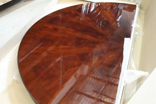 "84"" High End Large Round Brown Mahogany Dining Table Dining Room Table"